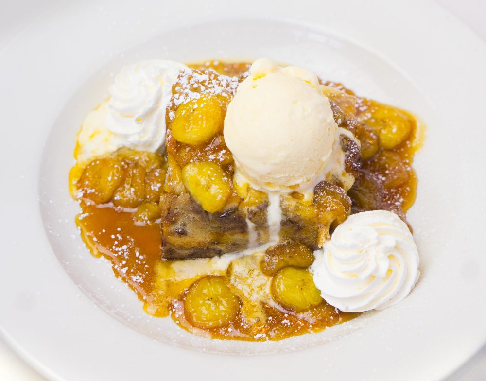 banana's foster bread pudding dessert for delivery