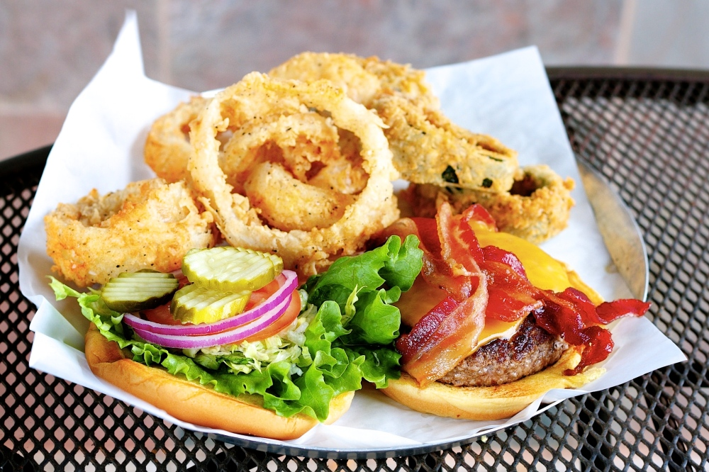 Bacon Burger and onion rings for delivery