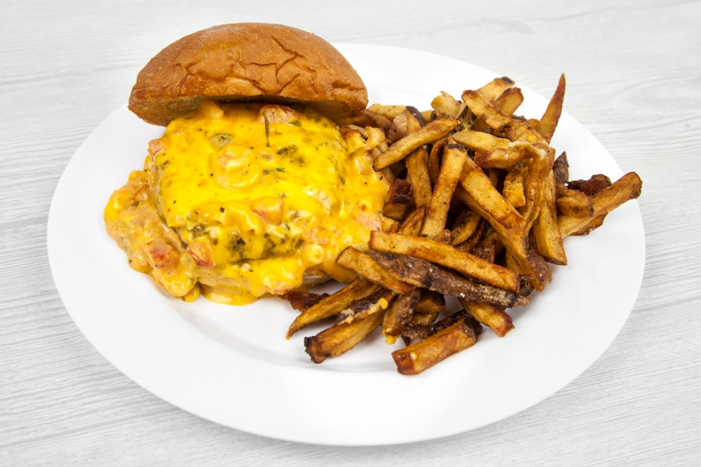 Mac and cheese burger for delivery