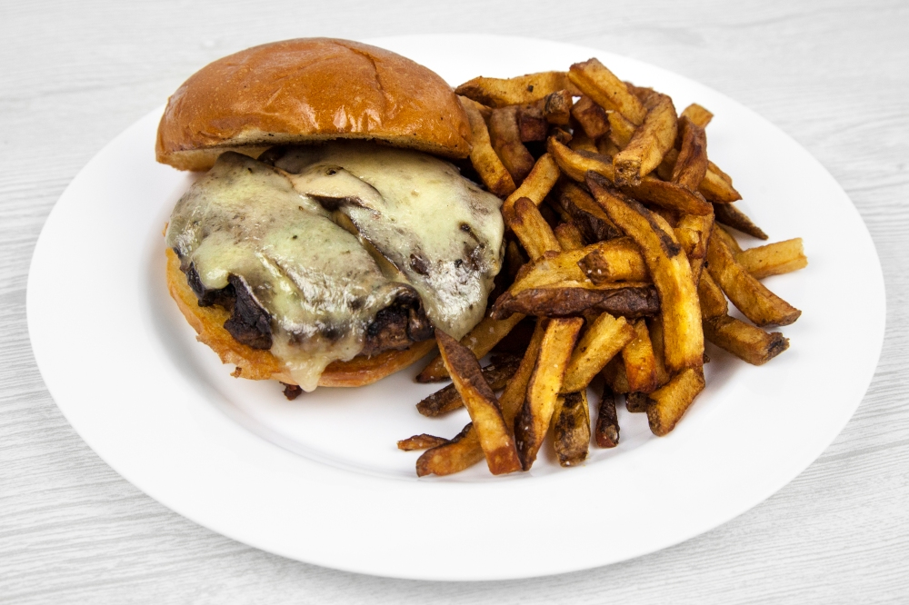 Mushroom and Swiss burger for delivery