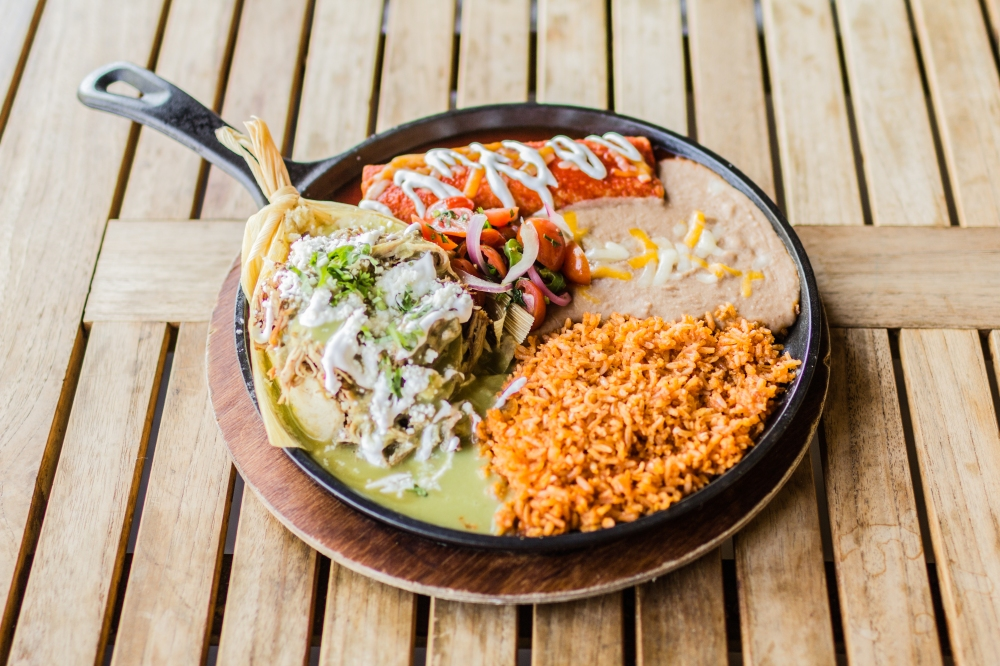 Tamale-Enchilada Spanish rice and beans for delivery