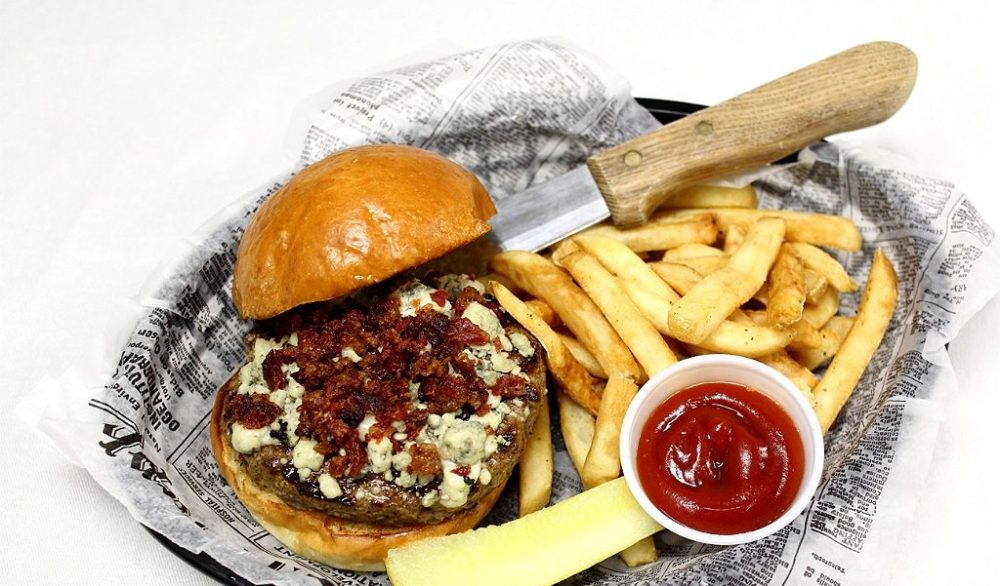 Blue cheese and bacon burger delivered
